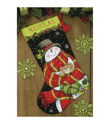 Dimensions Needlepoint Kit Snowman & Bear Stocking