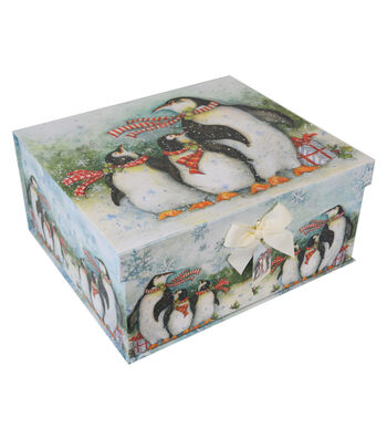 Maker's Holiday Extra Large Flip Top Box-Penguin