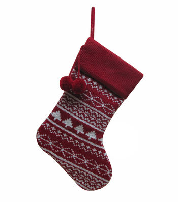 Maker's Holiday Christmas Stocking with Pom Pom-Fair Isle on Red
