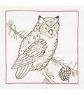 Jack Dempsey Stamped White Quilt Blocks Owl