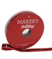 Maker's Holiday Christmas Ribbon 3/8''x9'-Santa Belt on Red, , hi-res