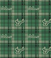 "University of South Florida Bulls Fleece Fabric 58""-Plaid, , hi-res"