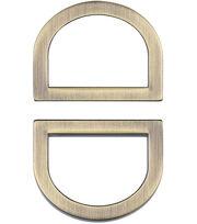 """Nancy Zieman's Bag Hardware D-Rings 1"""" 2/pkg-Satin Bronze, , hi-res"""