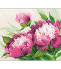 Pink Peonies Counted Cross Stitch Kit 14 Count