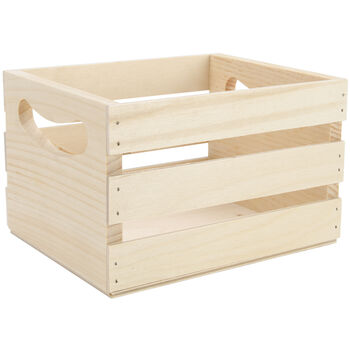 "Mini Wooden Crate w/Handles-6.5""X5.3""X4.25"""