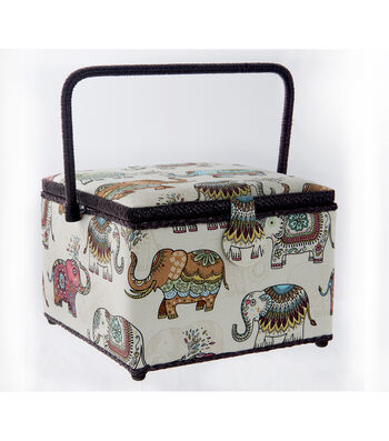 Large Square Sewing Basket-Elephant