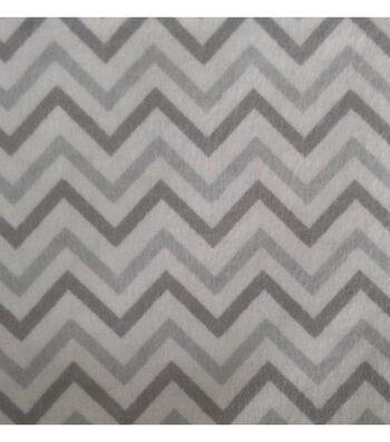 """3 Yard Pre-Cut Snuggle Flannel Fabric 42""""-Chevron Gray"""
