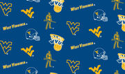 "West Virginia University Mountaineers Fleece Fabric 58""-All Over, , hi-res"