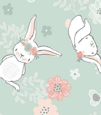 Nursery Flannel Fabric 42'' Tossed Bunny