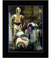 "Star Wars™ VII No Sew Fleece Throw 48""-The Force Awakens Droids, , hi-res"