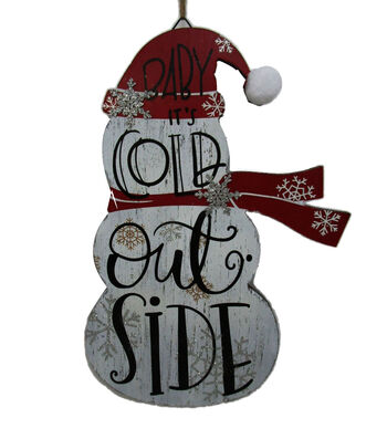 Maker's Holiday Christmas Snowman Wall Decor-Baby It's Cold Outside