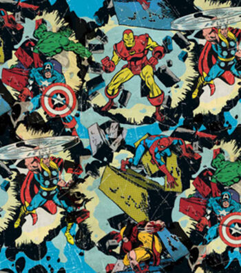 "Marvel Comics™ Cotton Fabric 44""-Retro Smashing"