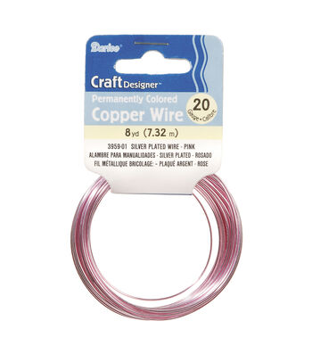 20 Gauge Copper Wire, Sterling Plated, Pink, 8 yards