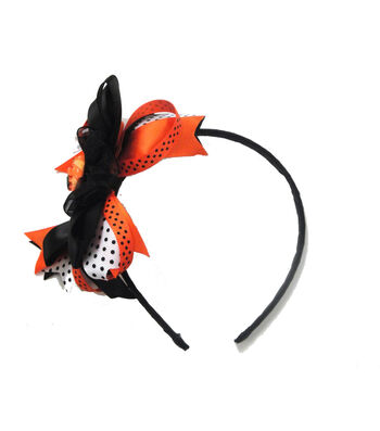 Maker's Halloween Boo & Bat Headband with Ribbons