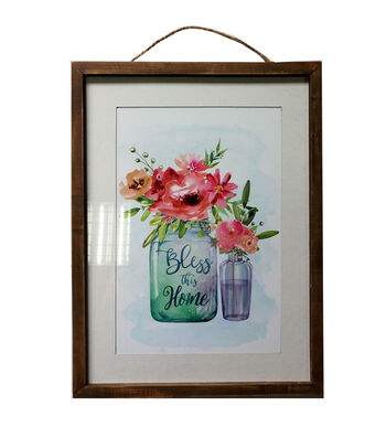 Hello Spring Glass Wall Decor-Glass Jars with Flowers & Bless this Home