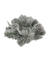 Blooming Holiday Frosted Pinecone & Pine Candle Holder-Green & White, , hi-res