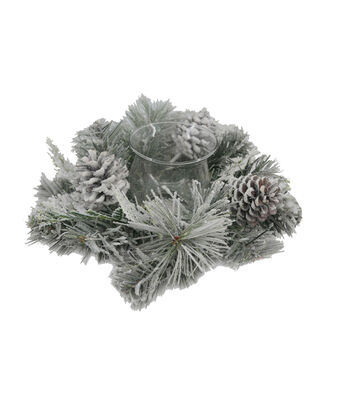 Blooming Holiday Pinecone Candle Holder-Frosted