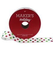 Maker's Holiday Christmas Ribbon 7/8''x9'-Dots on White, , hi-res