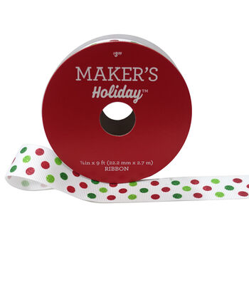 Maker's Holiday Christmas Ribbon 7/8''x9'-Dots on White