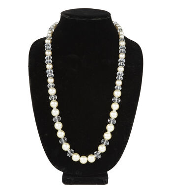 Long Solid Necklace Pearl Crystal