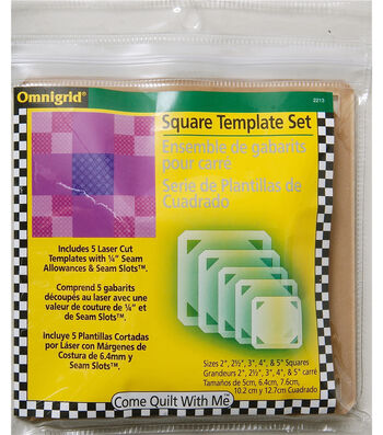 "Omnigrid 0.13"" Come Quilt With Me Template Set Squares"
