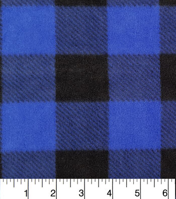 "Anti-Pill Fleece Fabric 57""-Blue Black Buffalo Check"