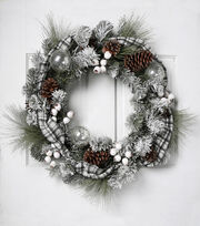 Blooming Holiday 28'' Plaid, Bauble, Berry & Pinecone Frosted Wreath, , hi-res