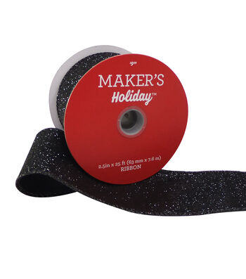 Maker's Holiday Christmas Glitter Ribbon 2.5''x25'-Black with Wired Edge