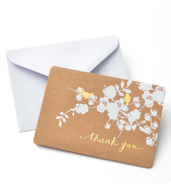 Save The Date™ 50 Pack Kraft Cards & Envelopes-Foil Birds & Thank You
