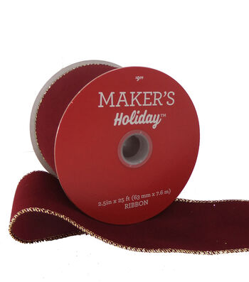 Maker's Holiday Velvet Ribbon 2.5''x25'-Burgundy with Gold Edge
