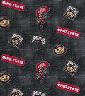 Ohio State University Buckeyes Cotton Fabric 44\u0022-Logo Allover