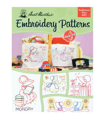 Aunt Martha's Colonial Patterns Iron-On Transfer Books Sunbonnet Days