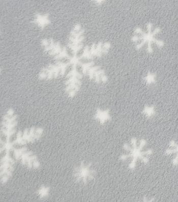 "Anti-Pill Fleece Fabric 57""-Snowflakes"