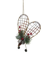 Maker's Holiday Christmas Woodland Lodge Wicker Snow Shoe Ornament, , hi-res