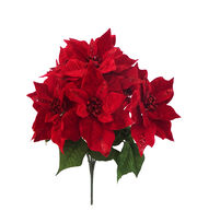 Blooming Holiday Christmas 23'' Velvet Poinsettia Spray with Gem-Red, , hi-res
