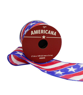 "Americana Sheer Twill Ribbon 2.5""x12'-Flag"