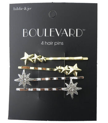 hildie & jo™ Boulevard 4 Pack Gold & Silver Star Hair Pins-Crystal
