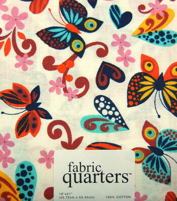 Fabric-Quarters Assorted Fabric-Butterfly