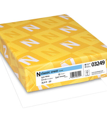 "Neenah Paper 80lb Classic Crest Cardstock 8.5""X11"" 250pk-Solar White"