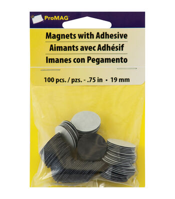 "ProMag Round Magnets w/Adhesive-.75"" 100/Pkg"