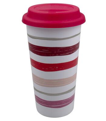 Valentine's Day Ceramic Travel Mug with Silicone Lid-Stripes