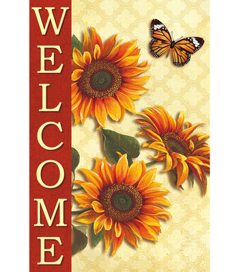 Welcome Fabric Flag 12''x18''-Sunflowers