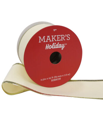 Maker's Holiday Christmas Ribbon 2.5''x25'-Beige with Small Gold Edge