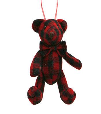 Maker's Holiday Christmas Woodland Lodge Bear Ornament-Buffalo Plaid