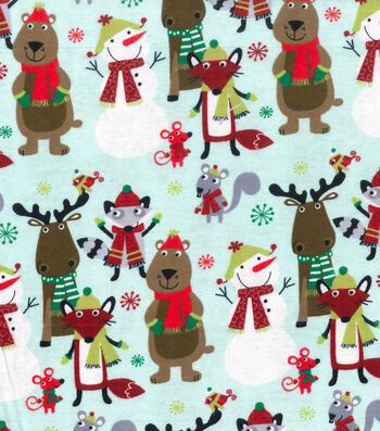 "Snuggle Flannel Fabric 42""-Animals In Scarfs"