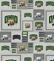 "Ohio University Bobcats Fleece Fabric 58""-Gray Block, , hi-res"