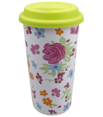 Easter Ceramic Travel Mug with Silicone Lid-Floral