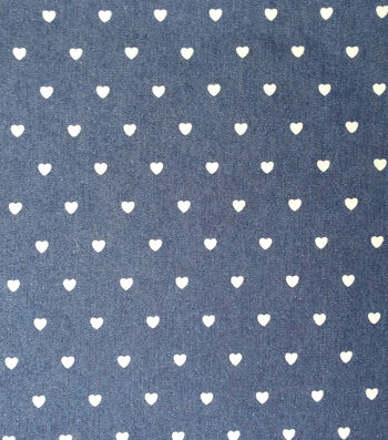 "Bottomweight Denim 6oz Fabric 51""-White Painted Heart"