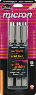 Pigma Micron Pens Assorted 3/Pkg-Black