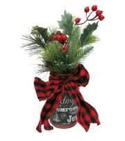 Blooming Holiday 12'' Buffalo Tie Berry Arrangement, , hi-res
